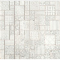 Tetris Blanco Pattern Honed Marble Mosaic