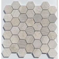 Wooden White 2X2 Hexagon Interlocking Multi Finish Mosaic Tile