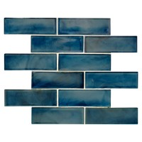 Blue Shimmer 2X6 Glossy Glass Subway Tile