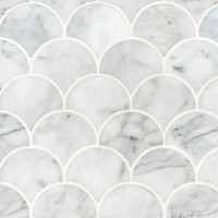 Calacatta Blanco Scallop Pattern Polished Backsplash Wall Tile