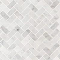 Carrara White 1X2 Herringbone Honed Mosaic