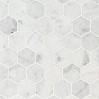 Carrara White 2X2 Hexagon Honed Mosaic