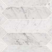 Carrara White 3x12 Honed Picket Shape Tile