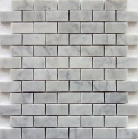 Carrara White 1x2 Polished Brick Mosaic