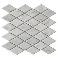 Carrara White Beveled Diamond Polished Mosaic