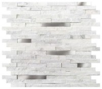 Carrara White Split Face Stainless Steel Interlocking Mosaic