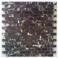 China Black Brick Pattern Interlocking Polished Marble Mosaic