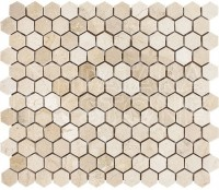 Cream Marfil 1x1 Hexagon Polished Mosaic