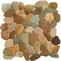 Golden Bali Mix 12X12 Interlocking Indonesia Flat Pebble Tile