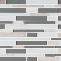 Gray Cliff 12X12 Interlocking Stone Glass Backsplash Tile