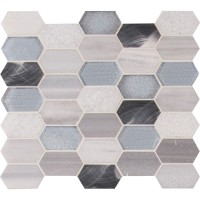 Harlow Picket 12X12 Glass Metal Stone Mosaic