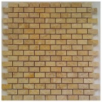 Emperador Light Brick Interlocking 12x12 Polished Mosaic