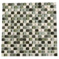 Glacier Green 5/8 x 5/8 Glass Stone Blend Mosaic