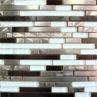 Stainless Steel LDW Glass Mix 12x12 Interlock Mosaic