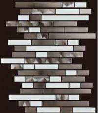 Stainless Steel LW Glass Mix 12x12 Interlock Mosaic