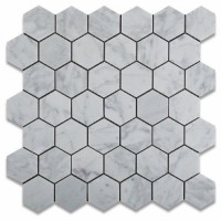 Carrara White 2X2 Hexagon Polished Marble Mosaic