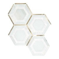 Medici Gold Geometric Pattern Hexagon Mosaic Tile