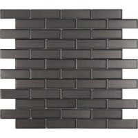 Metallic Gray 2x6x8 Glossy Bevel Glass Subway Tile
