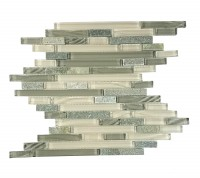 New Era II Collection Shell Grey Linear Glass Mosaic