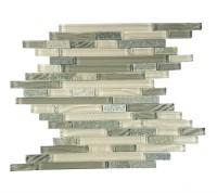New Era II Collection Shell Grey Linear Glass Mosaic