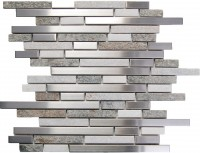 Odyssey Tundra 12x12 Interlocking Blend Stainless Steel Mosaic