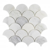 Oriental White Polished Shell Scale Mosaic