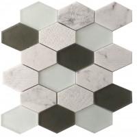 Panache Retro Hexagon White Glass Mosaic