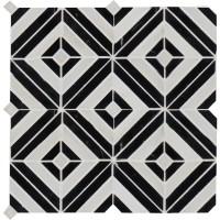Rhombix Nero Pattern Polished Marble Mosaic
