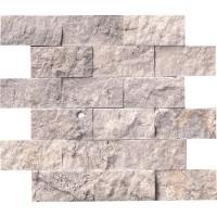 Silver Travertine 2x4 Split Face Travertine Mosaic