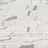 Statuario Celano Interlocking Pattern Recycled Glass Mosaic