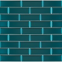 Verde Azul 2.5x8 Beveled Glass Subway Tile