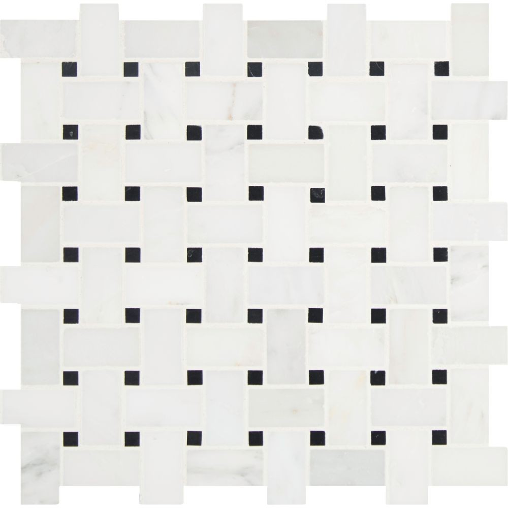 Arabescato Carrara Honed Basketweave Pattern Mosaic
