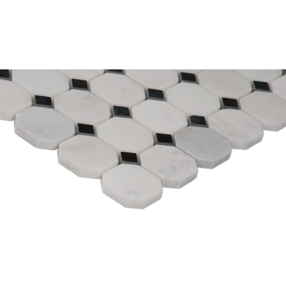 Arabescato Carrara Octagon Honed 2x2 Mosaic