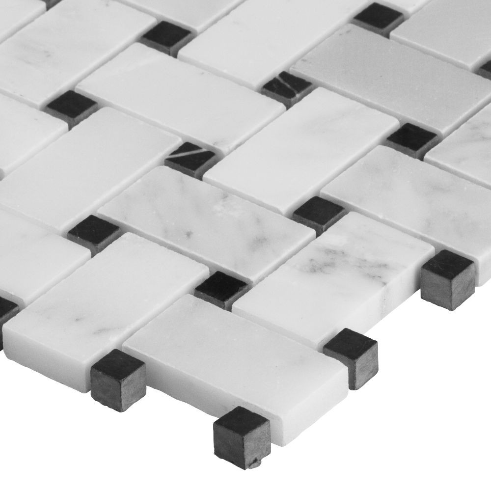 Arabescato Carrara Polished Basketweave Mosaic
