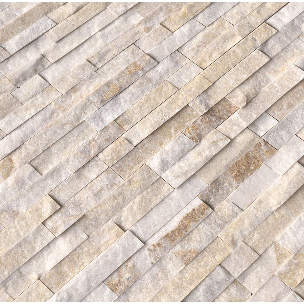 Arctic Golden 6x24 Split Face Ledger Panel Backsplash