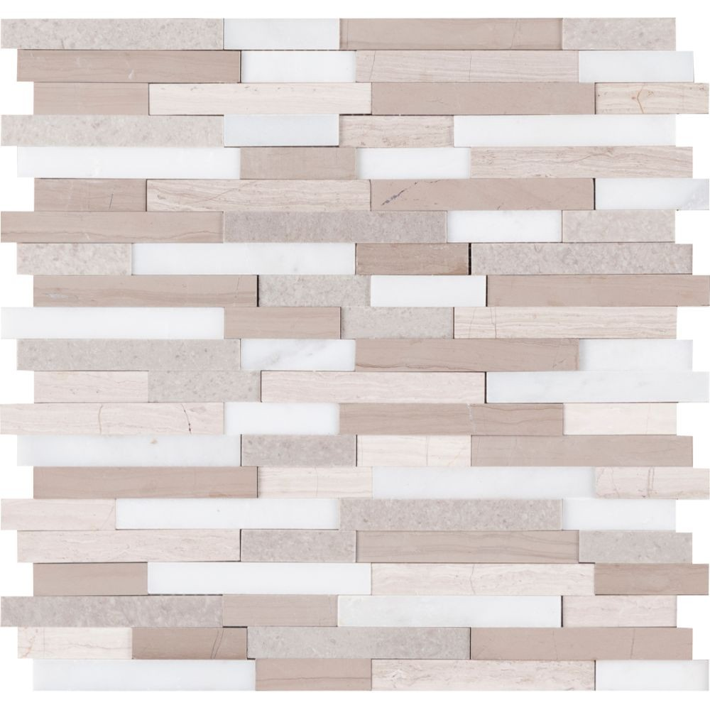 Arctic Storm Interlocking 3D Peel and Stick Wall Tile