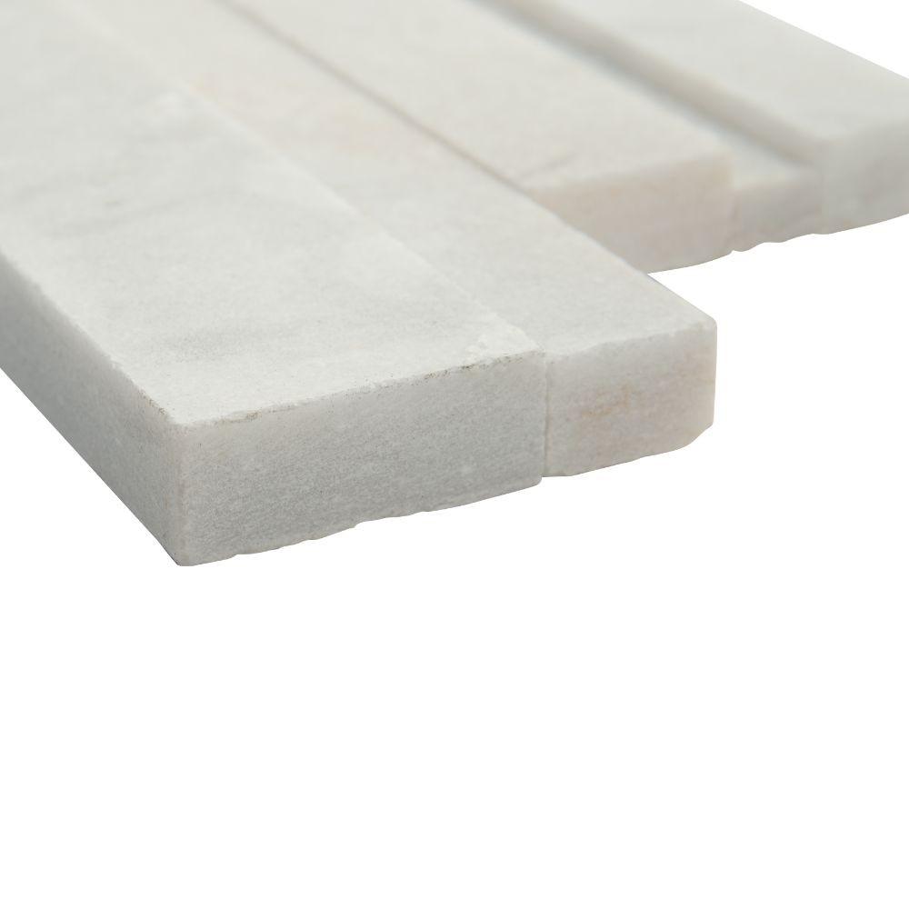 Arctic White 6x12x6 3D Honed Corner Ledger Panel