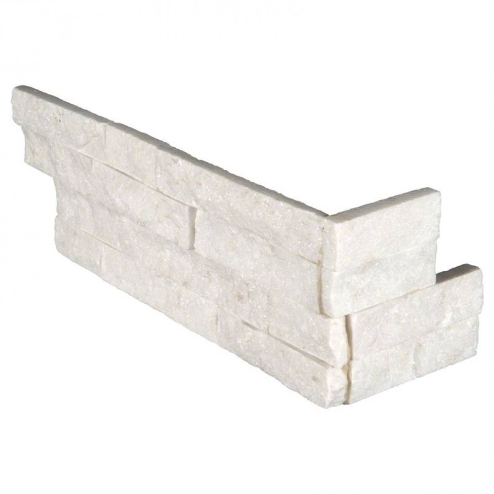 Arctic White 6x18x6 Split Face Corner Ledger Panel
