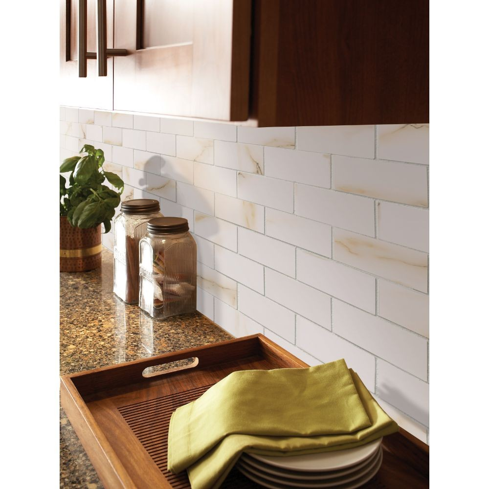 Aria Bianco 2x4 Polished Mosaic Backsplash Tile Usa
