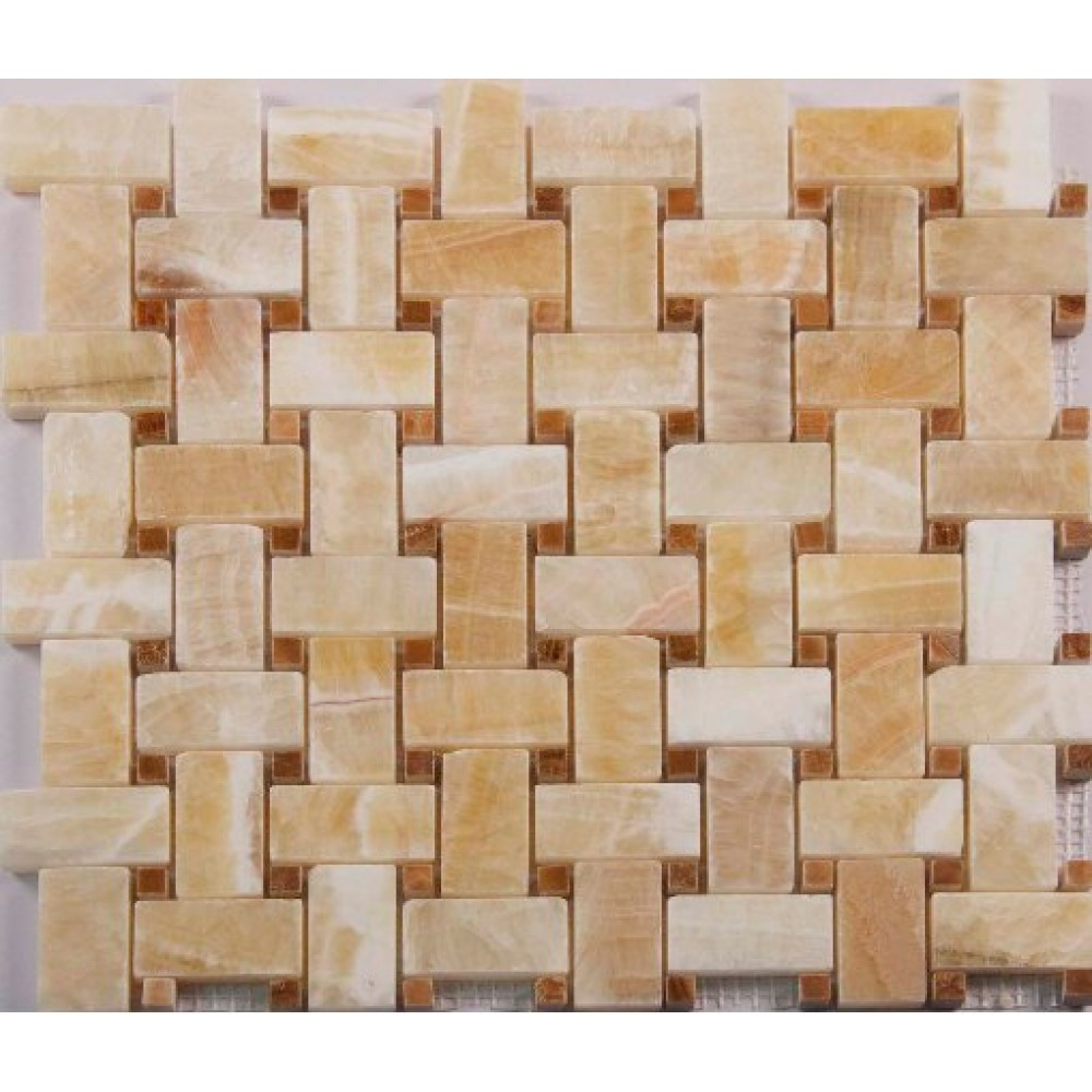 Pineapple Onyx 12x12 Polished Basketweave Mosaic
