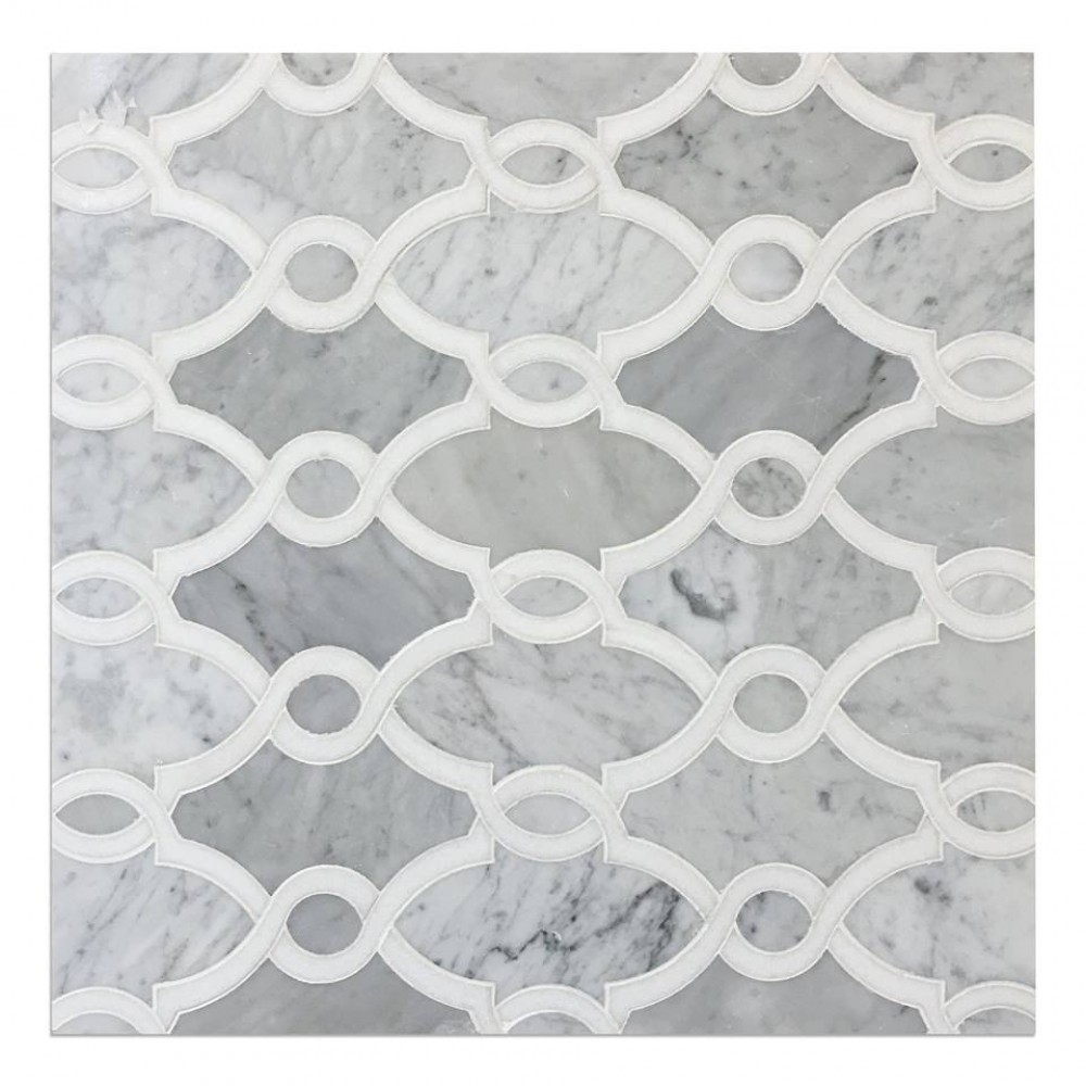 Bellagio Carrara And Thassos White 14X11 Polished Waterjet Mosaic