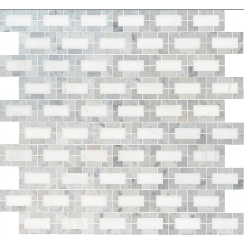 Bianco Dolomite 12x12 Polished Lynx Backsplash Mosaic