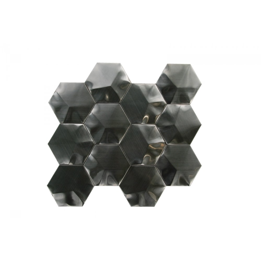 Stainless Steel 3D black Interlocking 3X3 Hexagon Mosaic