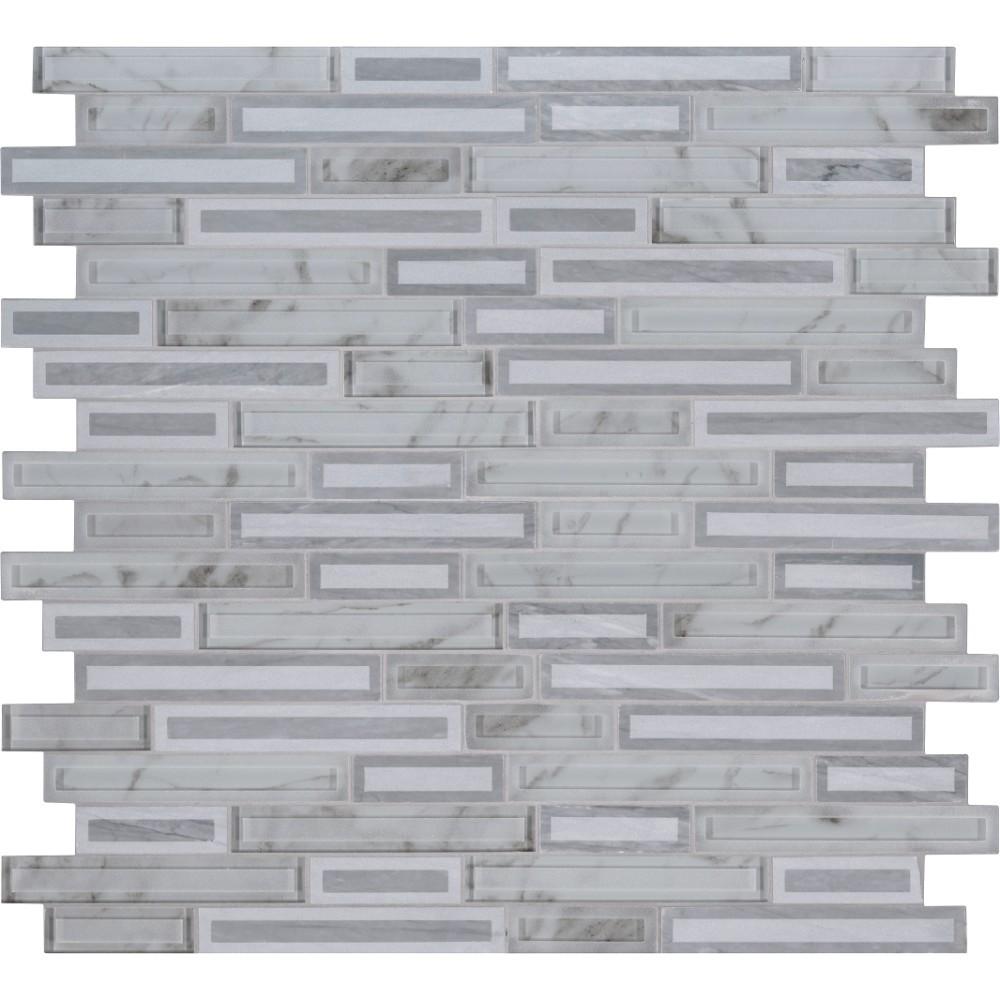 Blocki Grigio Interlocking Pattern Glass Stone Mosaic