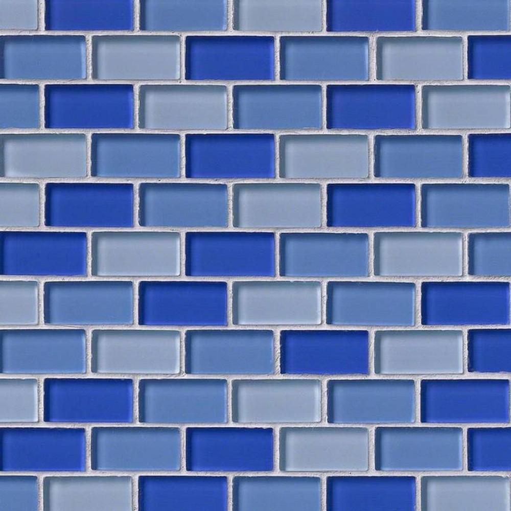 Blue Blend Brick 1X2X8MM Glass Blend