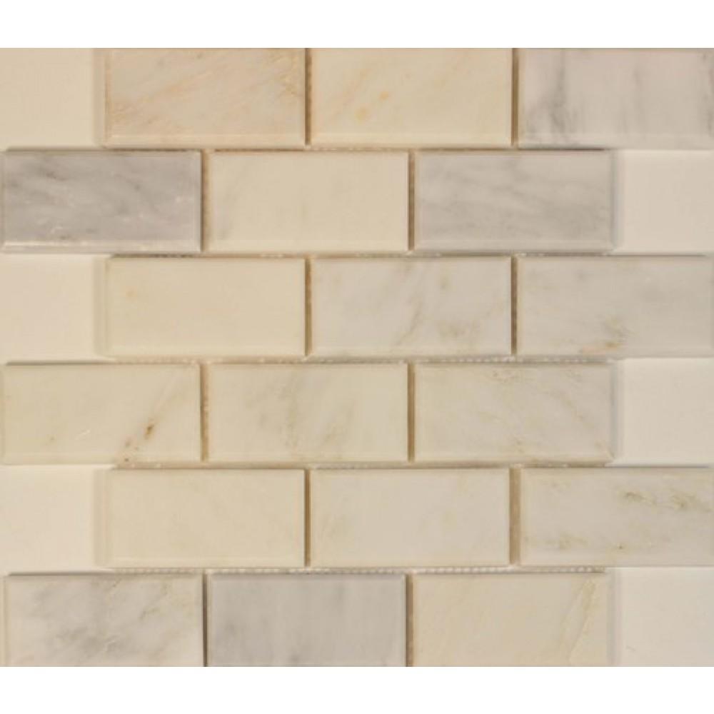 Oriental White 2x4 Polished & Bevel Mosaic