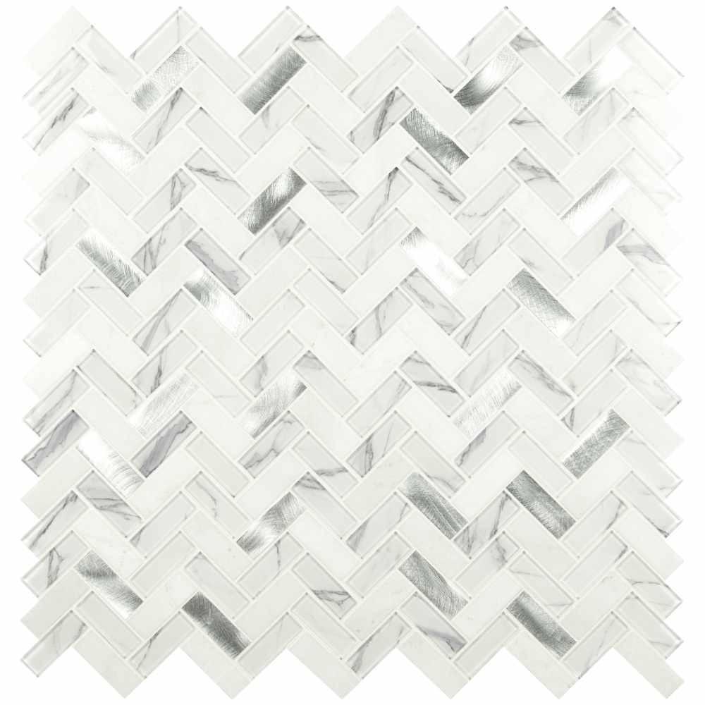 Bytle Bianco Herringbone Pattern Stone Glass Metal Multi Mosaic