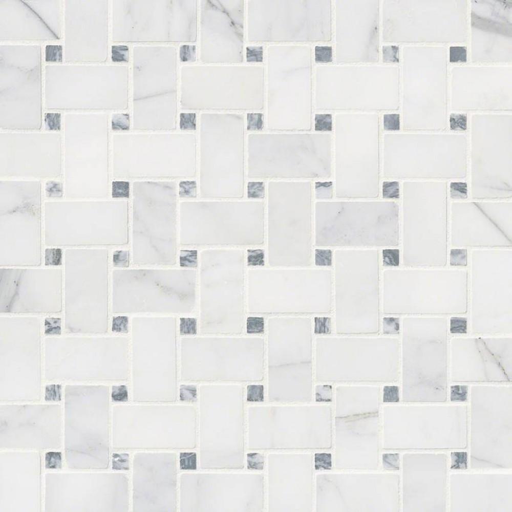 Calacatta Cressa Basketweave Pattern Honed Mosaic