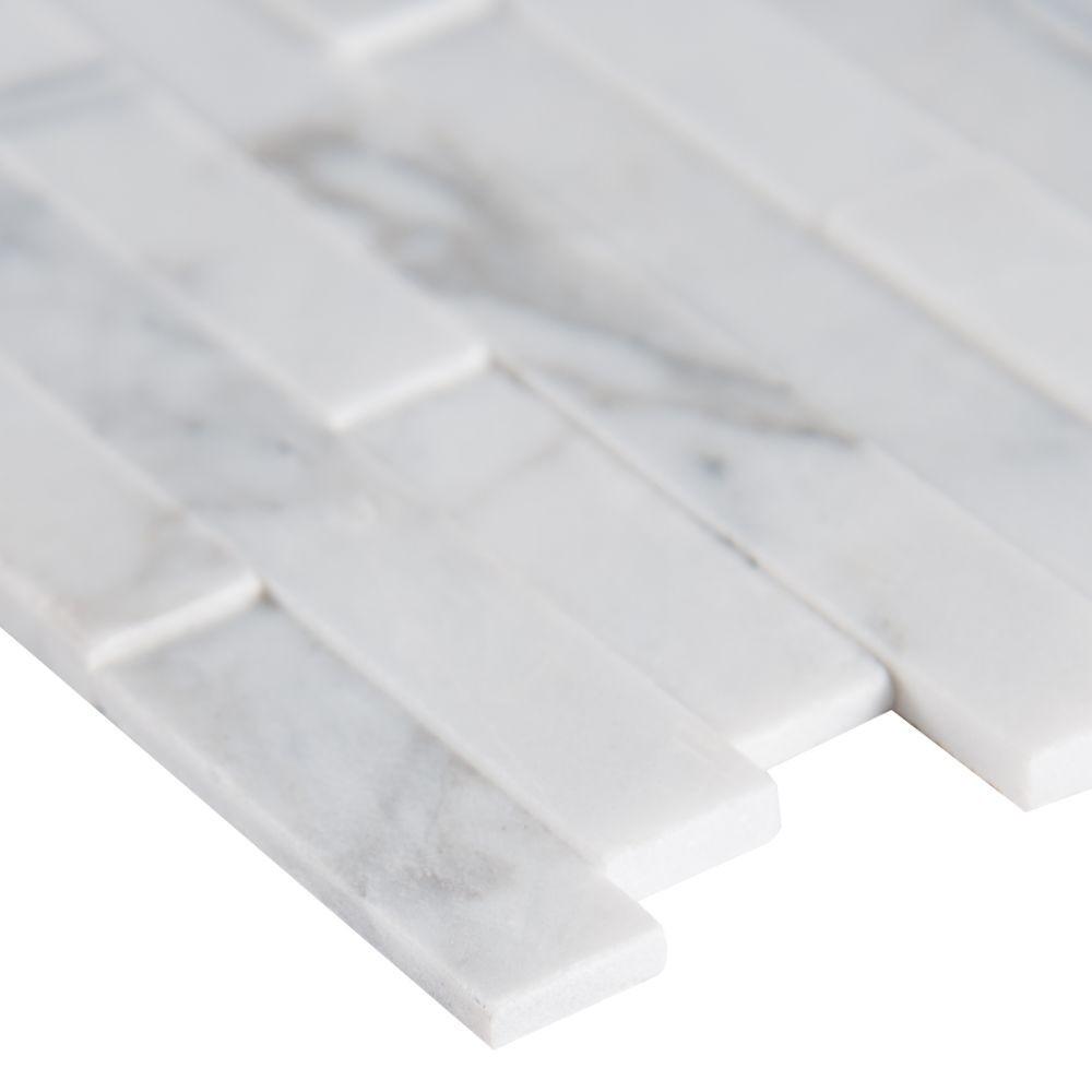 Calacatta Cressa Interlocking 3D Peel and Stick Wall Tile