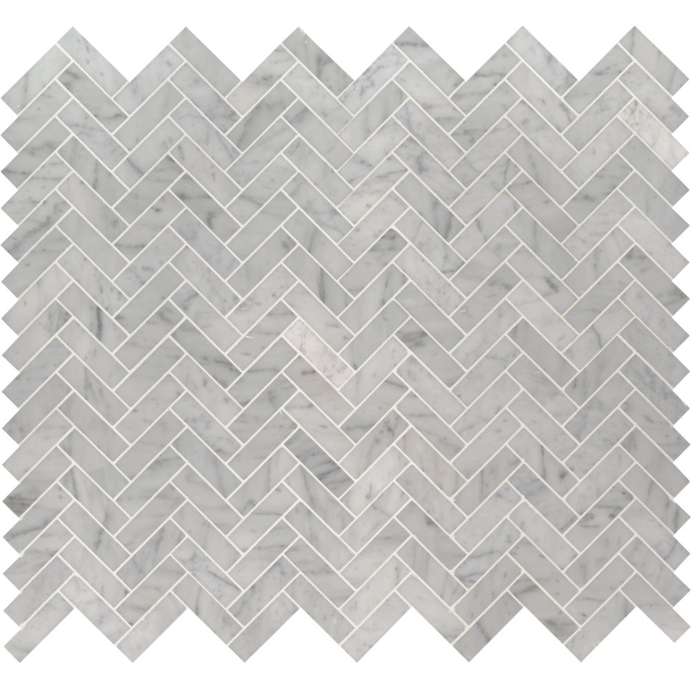 Carrara White 1x3 Herringbone Polished Mosaic